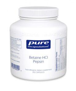 Betaine HCL Pepsin, 250 Capsules, Pure Encapsulations